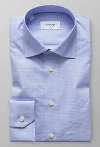 Eton Dot & Floral Poplin Licht Blauw