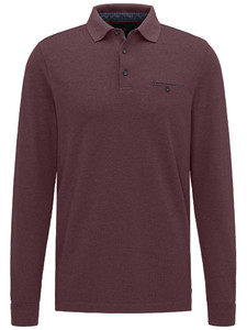 Fynch-Hatton Polo Longsleeve Melange Indian Red