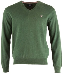 Gant Cotton Wool V-Neck Bottle Green Melange
