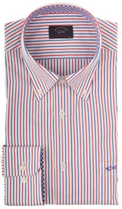 Paul & Shark Fashion Contrasted Fine Stripe Blauw-Rood