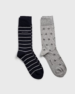Gant 2-Pack Anchor Intarsia Socks Light Grey
