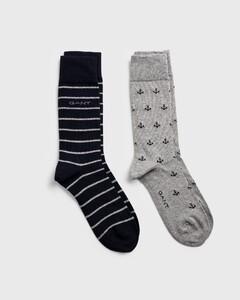 Gant 2-Pack Anchor Intarsia Socks Licht Grijs