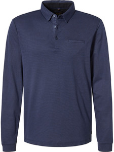 Pierre Cardin Long Sleeve Polo Jacquard Voyage Blue
