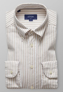 Eton Striped Slim Oxford Gebroken Wit