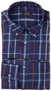 Paul & Shark Silver Collection Bretagne Check Blauw-Rood