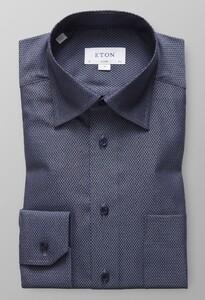 Eton Herringbone Signature Twill Midden Blauw