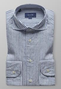 Eton Striped Cotton Linen Diep Blauw