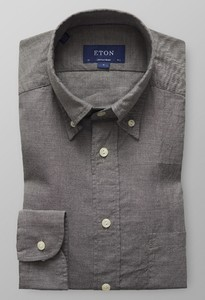 Eton Lightweight Uni Button Down Donker Grijs Melange
