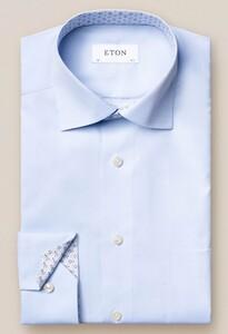 Eton Uni Poplin Fine Contrast Licht Blauw