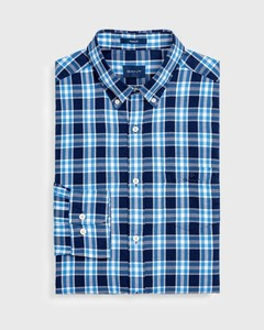 Gant Windblown Oxford Check Lagoon Blue