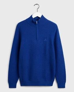 Gant Signature Weave Half Zip College Blue