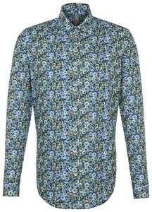 Jacques Britt Slim Floral Poplin Sky Blue Melange