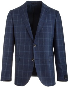 EDUARD DRESSLER Shaped Fit Luxury Silk Check Midden Blauw