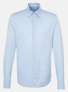 Jacques Britt Jersey Hidden Button Down Light Blue