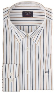 Paul & Shark White Font Fine Stripe Blauw-Khaki