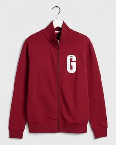 Gant Graphic Zip-Through Sweat Mahonie Rood