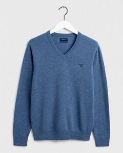 Gant Extrafine Lambswool V-Neck Stone Blue Melange