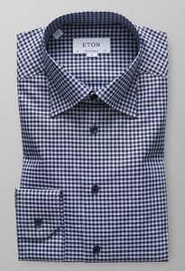 Eton Gingham Checked Twill Donker Blauw
