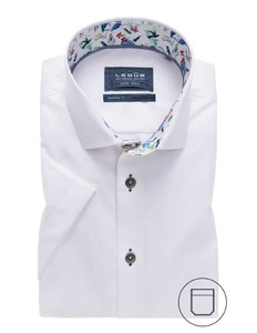 Ledûb Modern Short Sleeve Uni Contrast Wit