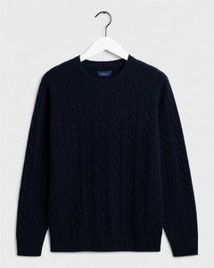 Gant Lambswool Cable Crew Evening Blue