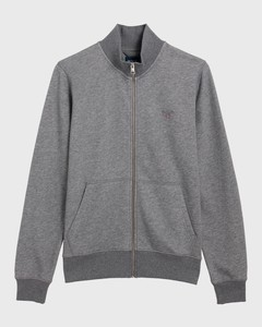 Gant The Original Full Zip Cardigan Dark Grey Melange