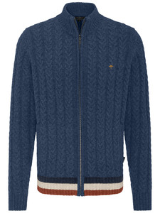 Fynch-Hatton Cardigan Zip Cable Structure Indigo