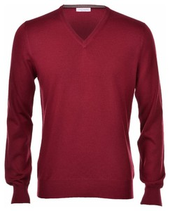 Gran Sasso Extrafine Merino V-Neck Fashion Burgundy Red