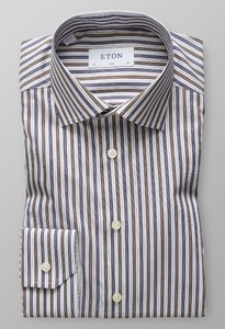 Eton Fine Twill Stretch Stripe Brown