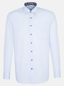 Seidensticker Poplin Uni Contrast Collar Pastel Blauw
