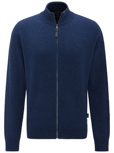 Fynch-Hatton Cardigan Zip Elbow Patches Ultramarine