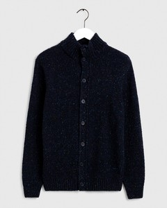 Gant Knit Mock Neck Cardigan Evening Blue