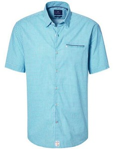 Pierre Cardin Fantasy Check Structure Short Sleeve Blue Green