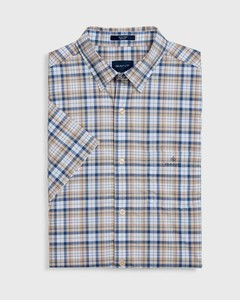 Gant Tech Broadcloth Check Short Sleeve Zand