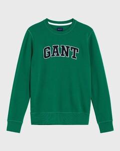 Gant Gant Logo Ronde Hals Sweatshirt Bladgroen
