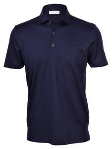 Gran Sasso Mercerized Cotton Piqué Polo Blue Navy