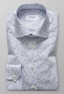 Eton Paisley Extra Long Sleeve Sky Blue