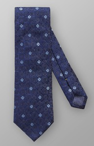 Eton Geometric Woven Silk Dark Navy