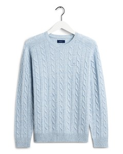 Gant Lambswool Cable Crew Ice Blue Melange