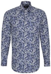 Seidensticker Poplin Fantasy Floral Blauw