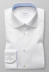 Eton Poplin Uni Mouwlengte 7 Wit