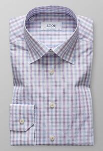 Eton Button Under Checked Poplin Sky Blue