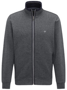 Fynch-Hatton Cardigan Zip Uni Structure Melange Anthra