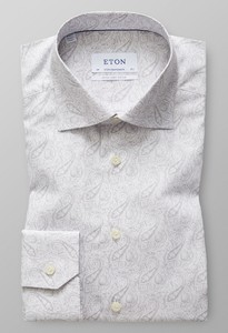 Eton Poplin Paisley Extra Long Sleeve Grey