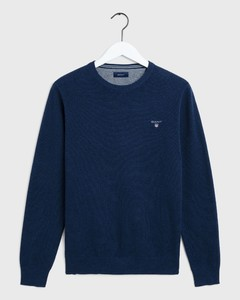 Gant Piqué Sweater Ronde Hals Blue Melange
