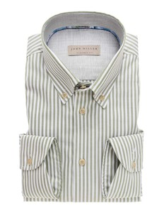 John Miller Button Down Striped Cotton Midden Groen
