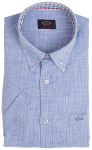 Paul & Shark Plain Collar Check Contrast Licht Blauw