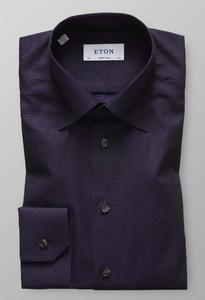 Eton Uni Button Under Signature Twill Ultra Donker Paars