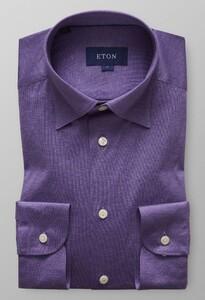 Eton Uni Jersey Button Under Midden Blauw Melange