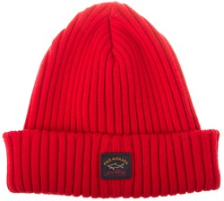 Paul & Shark Bretagne Plain Knitted Cap Rood