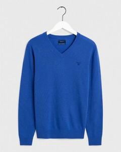 Gant Extrafine Lambswool V-Neck Nautical Blue